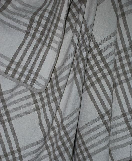 """Текстиль, ковры ручной работы. Ярмарка Мастеров - ручная работа. Купить Покрывало """"Клетка светлая"""" из льна. Handmade. Серый"""