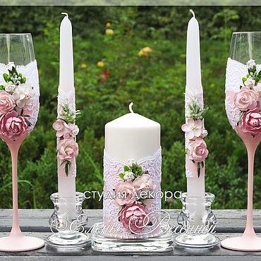 Свадебный салон ручной работы. Ярмарка Мастеров - ручная работа Свадебные бокалы и свечи. Handmade.