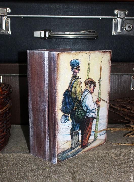 """Корзины, коробы ручной работы. Ярмарка Мастеров - ручная работа. Купить Короб-книга  """"Рыболов"""". Handmade. Комбинированный, подарок рыбаку"""
