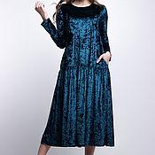 SALE! -50% Платье бархатное трапеция прямое оверсайз