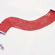 Украшения handmade. Livemaster - original item Wide red rhinestone bracelet. Handmade.