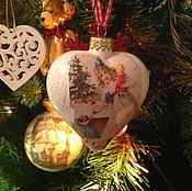 """Для дома и интерьера ручной работы. Ярмарка Мастеров - ручная работа Стеклянная елочная игрушка """"сердце"""". Handmade."""