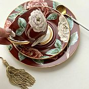 Посуда handmade. Livemaster - original item Painted porcelain Cup and dessert Plate gift. Handmade.