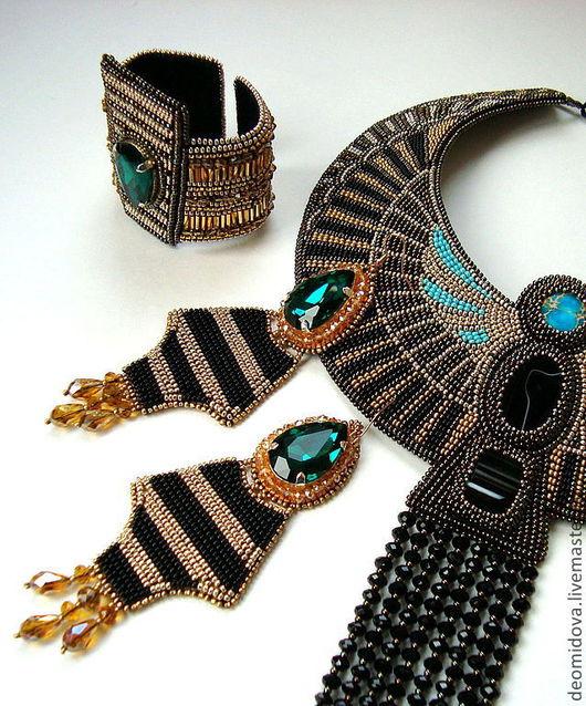 """Серьги ручной работы. Ярмарка Мастеров - ручная работа. Купить """"Нефертити"""" крупные серьги с кристаллами. Handmade. Египет, египетский стиль"""