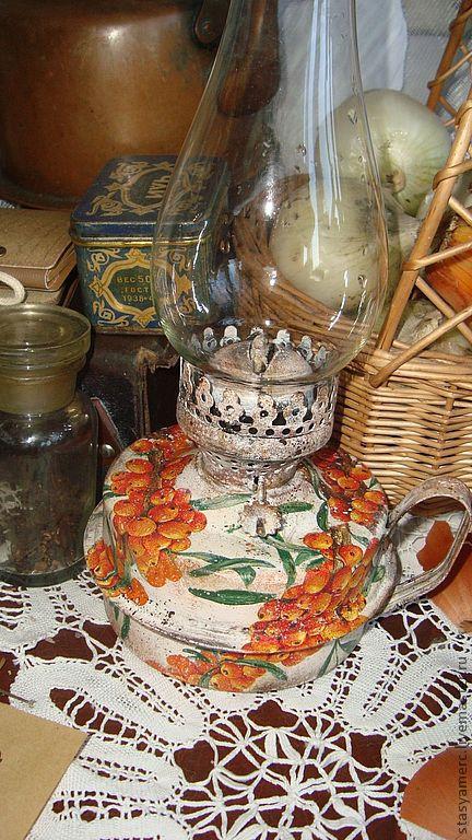"""Освещение ручной работы. Ярмарка Мастеров - ручная работа. Купить Лампа -керосинка """"Облепиховая"""". Handmade. Лампа керосиновая, керосиновая лампа"""