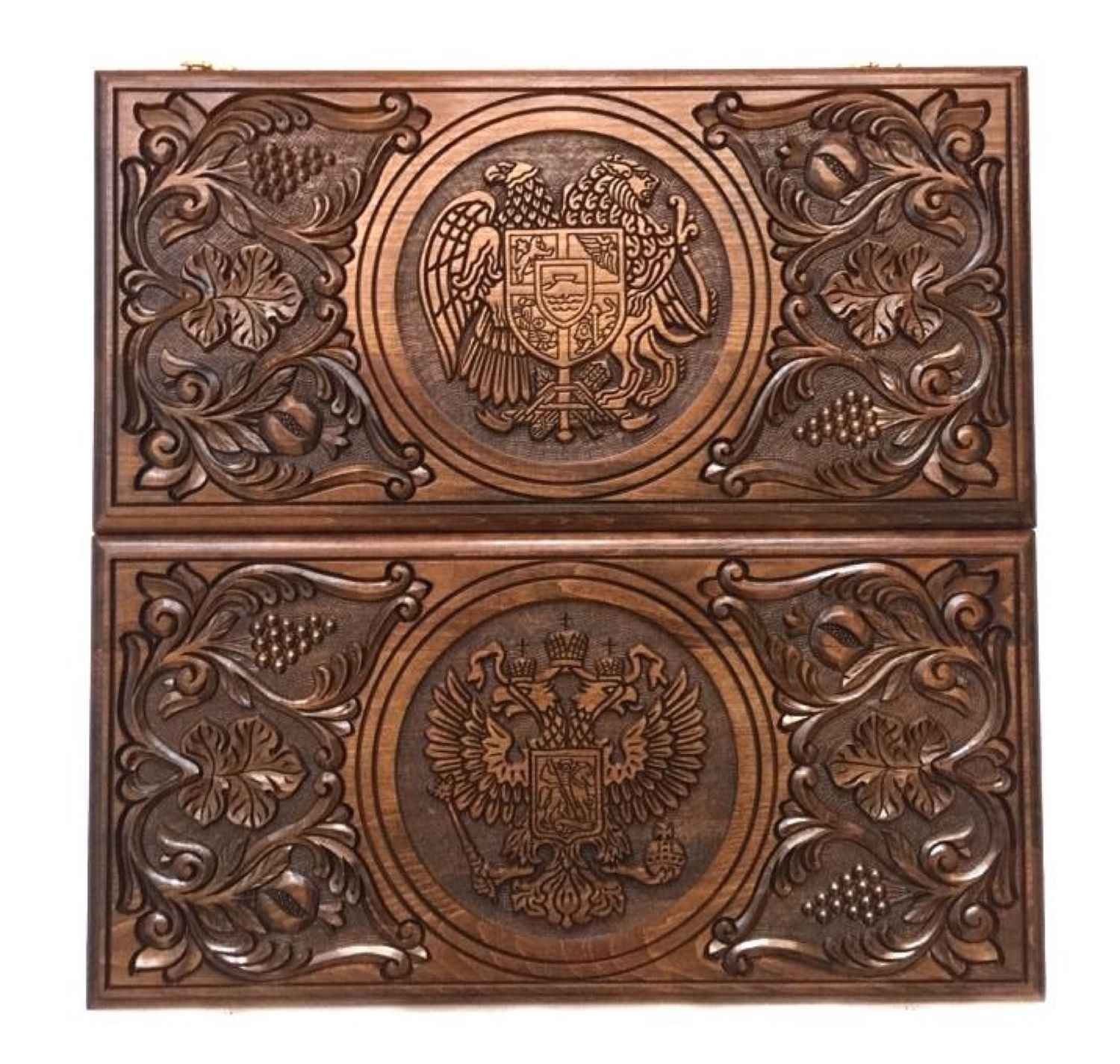Backgammon carved handmade coats of Arms 3 Art. .005, Backgammon and checkers, Moscow,  Фото №1