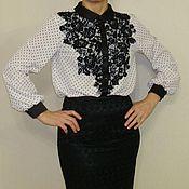 Одежда ручной работы. Ярмарка Мастеров - ручная работа Блузка в горох с кружевом. Handmade.