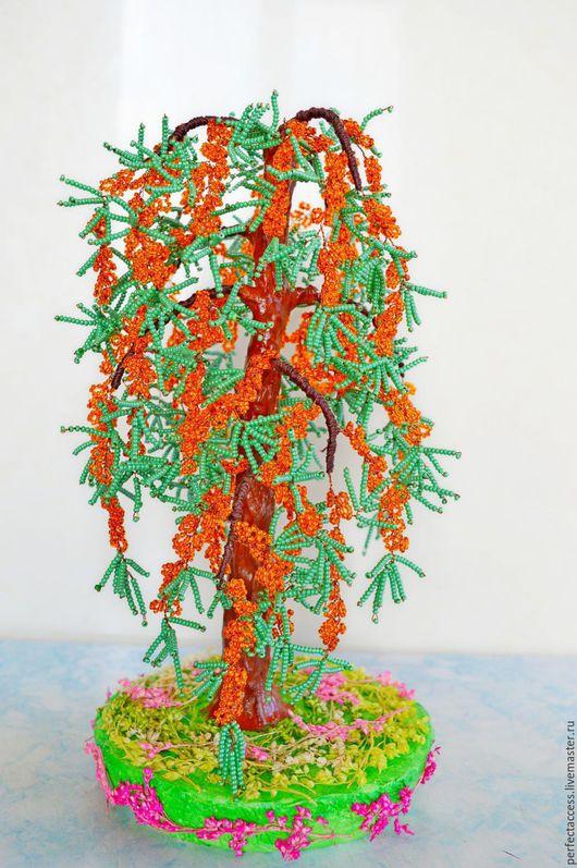 Деревья ручной работы. Ярмарка Мастеров - ручная работа. Купить Дерево из бисера. Облепиха.. Handmade. Оранжевый, сувениры из бисера, деревья