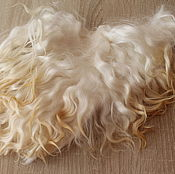 Материалы для творчества handmade. Livemaster - original item The skin of the goat # 12 (hair for dolls, white) Curls Curls for dolls. Handmade.
