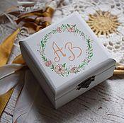 Свадебный салон ручной работы. Ярмарка Мастеров - ручная работа Blush - свадебная шкатулка для обручальных колец. Handmade.