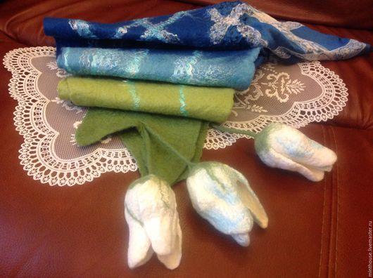 Шарфы и шарфики ручной работы. Ярмарка Мастеров - ручная работа. Купить Валяный бактус КРУЖЕВА, шарфик шерстяной с тюльпанами. Handmade.