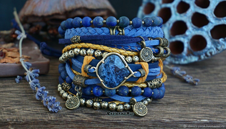 Lapis Lazuli bracelet boho style ' Lapis Lazuli', Bead bracelet, Moscow,  Фото №1