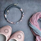 """Украшения ручной работы. Ярмарка Мастеров - ручная работа Колье из бисера """"Shell Pink"""" Вязаный жгут Жгут из бисера. Handmade."""