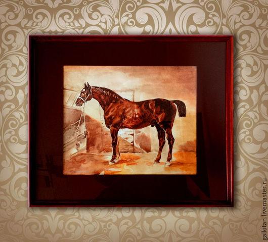 Животные ручной работы. Ярмарка Мастеров - ручная работа. Купить Акварельная картина с конём, деревянная рама, стекло, паспарту.. Handmade.