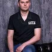 Футболки ручной работы. Ярмарка Мастеров - ручная работа Черная мужская футболка Black CITY, футболка с воротником. Handmade.
