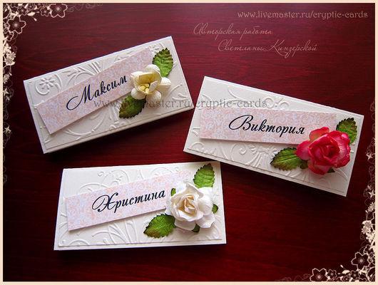 """Свадебные аксессуары ручной работы. Ярмарка Мастеров - ручная работа. Купить Рассадочные карточки """"Розы и цветы вишни"""" Разные цвета. Handmade."""