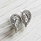 Материалы для творчества handmade. Livemaster - original item Earrings silver plated with lock (art. 2503). Handmade.