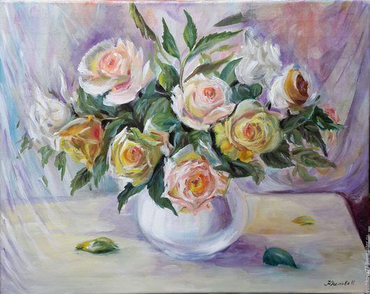 Картина цветы маслом на холсте `Любимые розы`. Ярмарка Мастеров - ручная работа. Купить авторскую работу. Handmade