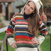 Одежда ручной работы. Ярмарка Мастеров - ручная работа Вязаный свитер с капюшоном 12WS02. Handmade.