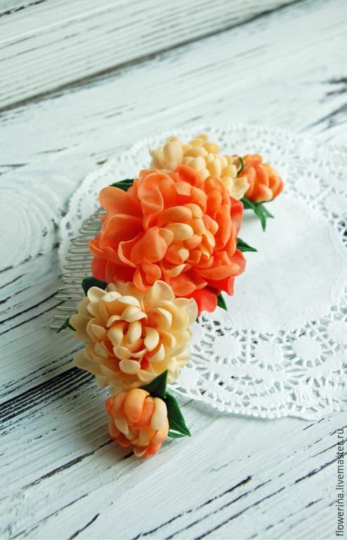 Order Comb With Peach Peonies Buy. FLOWERRINA (flowerina). Livemaster