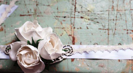 Свадебные украшения ручной работы. Ярмарка Мастеров - ручная работа. Купить Браслет невесты с розами. Handmade. Белый, аксессуары для свадьбы