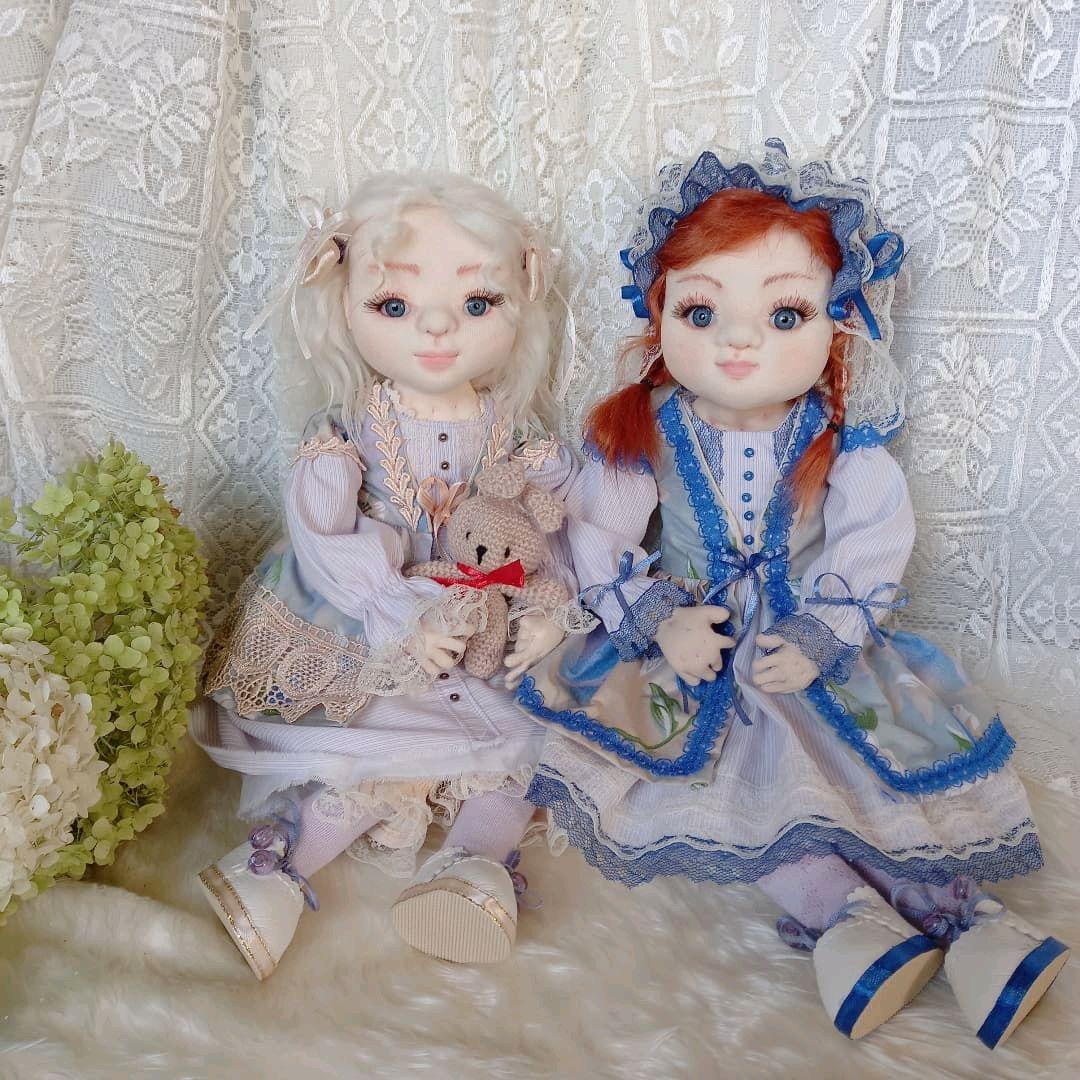 Сьюзан и Элис. Текстильные куколки, милые сестренки, Интерьерная кукла, Щекино,  Фото №1