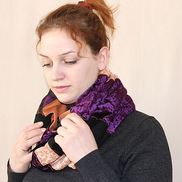 Accessories handmade. Livemaster - original item The Snood scarf in a boho style. Luxury purple. Scarf style BOHO. Handmade.