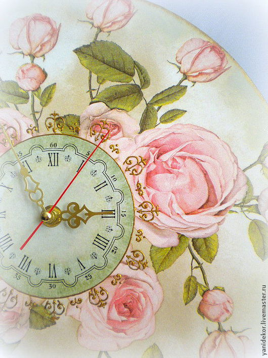 Часы настенные Английские Розы.Часы настенные декупаж.Часы настенные ручной работы.Часы настенные в спальню.Часы с розами декупаж.Часы деревянные купить.Часы интерьерные.