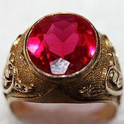 Винтаж handmade. Livemaster - original item A massive gold ring with an artificial ruby. Handmade.