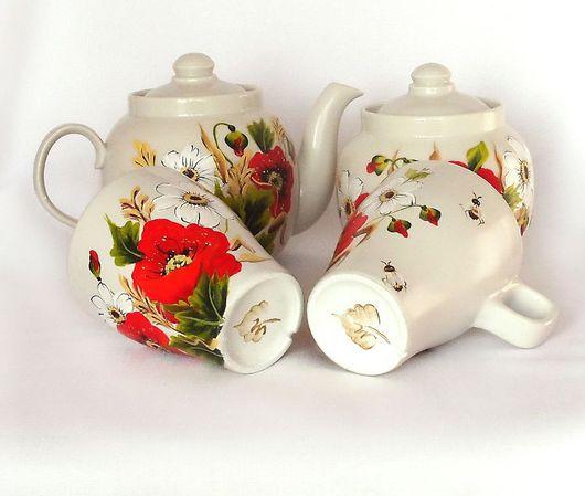 """Сервизы, чайные пары ручной работы. Ярмарка Мастеров - ручная работа. Купить Чайный сервиз с росписью """" В разгар лета"""". Handmade."""