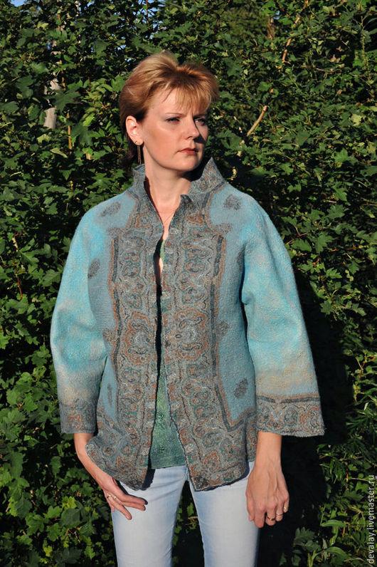 """Пиджаки, жакеты ручной работы. Ярмарка Мастеров - ручная работа. Купить Валяный жакет бирюзового цвета """"Небо Тибета"""". Handmade."""