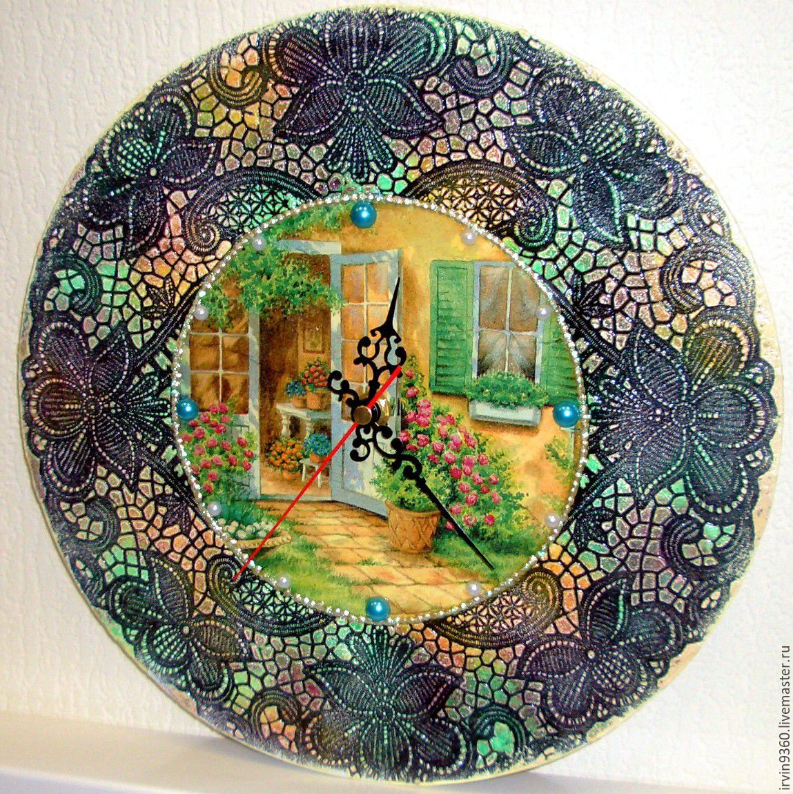 "Часы для дома ручной работы. Ярмарка Мастеров - ручная работа. Купить Часы ""Кружева"". Handmade. Часы, лето, настенные часы"