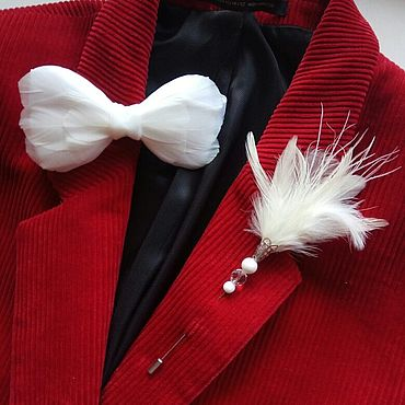 Accessories handmade. Livemaster - original item Bow tie and boutonniere set with rooster feathers. Handmade.