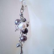 Серьги классические ручной работы. Ярмарка Мастеров - ручная работа Серьги грозди жемчужные в серебристом. Handmade.