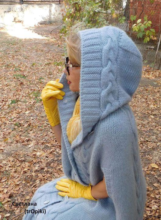 Верхняя одежда ручной работы. Ярмарка Мастеров - ручная работа. Купить Пальто- пончо вязаное. Handmade. Серый, пальто с капюшоном