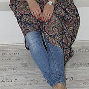 """Одежда ручной работы. Ярмарка Мастеров - ручная работа Платье из льна с брошью """"Перо жар птицы"""". Handmade."""