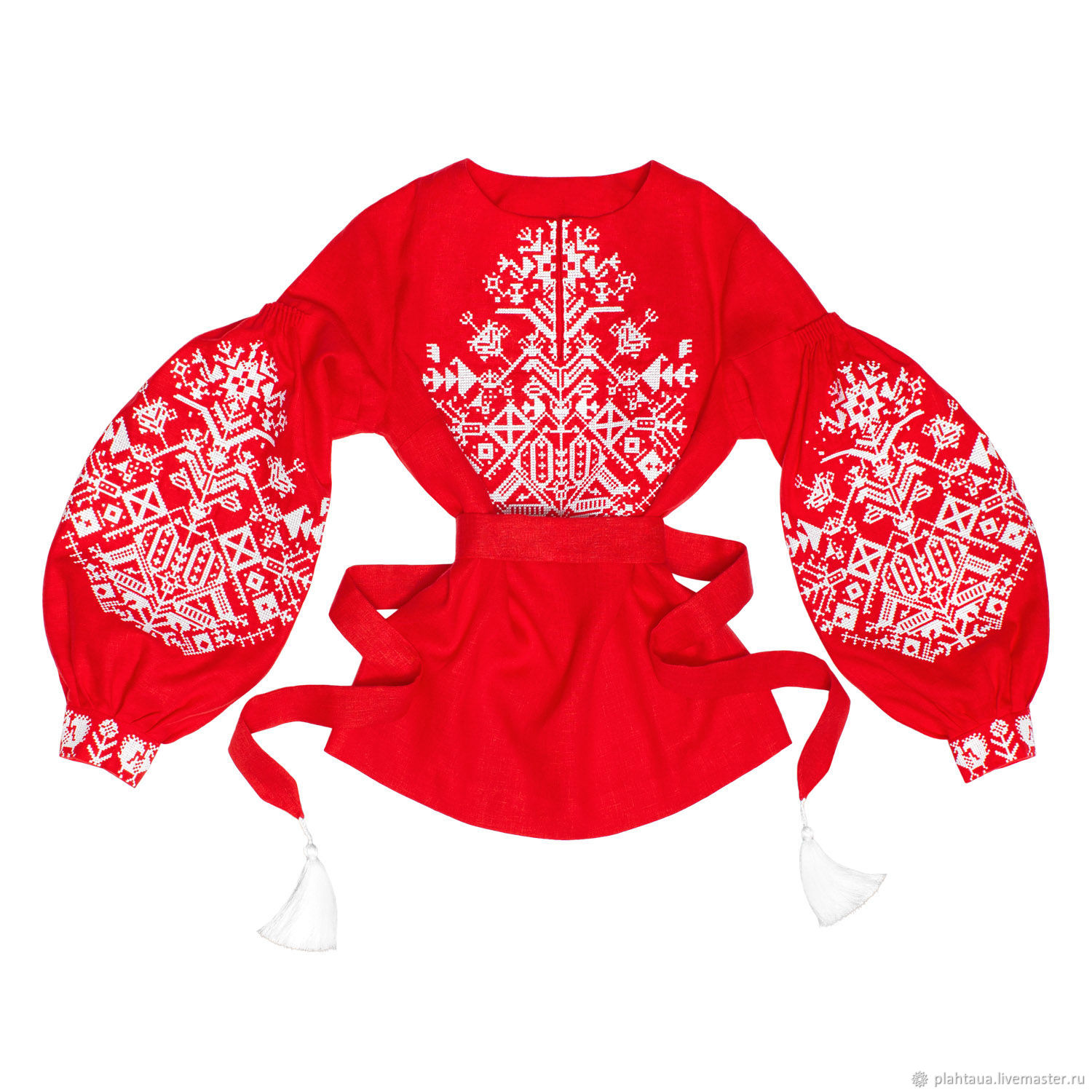 "Red blouse with embroidery ""King-Bird"", Blouses, Kiev, Фото №1"