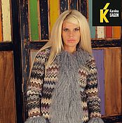Одежда ручной работы. Ярмарка Мастеров - ручная работа Куртка шерсть миссони с отделкой ламой (сталь). Handmade.