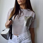 Одежда handmade. Livemaster - original item T-shirt-mesh white cropped pocket. Handmade.