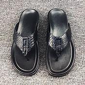 Обувь ручной работы handmade. Livemaster - original item Men`s flip-flops made of genuine crocodile leather.. Handmade.