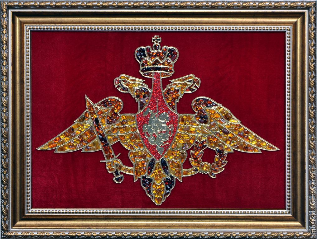 panels of amber `arms of defence`. the coat of arms of the ministry of defence of amber. beautiful and festive gift to the day of the armed forces of the russian federation. may 7. natural amber rhine