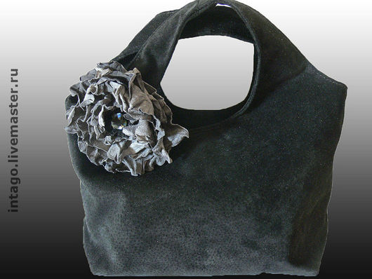 Handbags handmade. Livemaster - handmade. Buy Bag and brooch (2 in 1). 'Black gray poppy'.Black suede