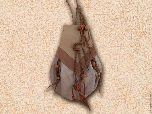 Женские сумки ручной работы. Ярмарка Мастеров - ручная работа. Купить Микро рюкзачок с глиняными бусинками. Handmade. Бежевый
