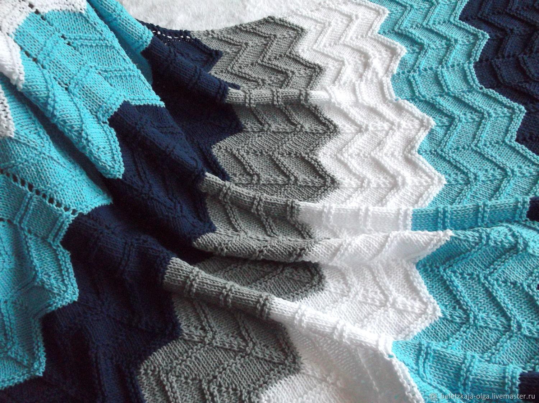 Детский вязаный плед из хлопка Голубая волна, Детские пледы, Уфа,  Фото №1