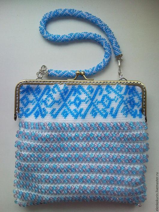 Женские сумки ручной работы. Ярмарка Мастеров - ручная работа. Купить Маленькая сумочка. Handmade. Голубой, бисерная сумочка