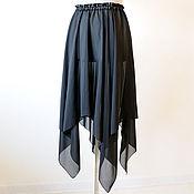 Одежда ручной работы. Ярмарка Мастеров - ручная работа Черная прозрачная юбка готическая юбка шифон вечерняя. Handmade.
