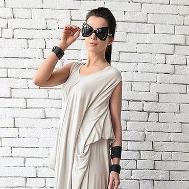 Одежда ручной работы. Ярмарка Мастеров - ручная работа Бежевое асимметричное платье. Handmade.