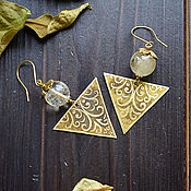 Украшения handmade. Livemaster - original item Brass boho earrings with citrine Triangular earrings ornament gold. Handmade.