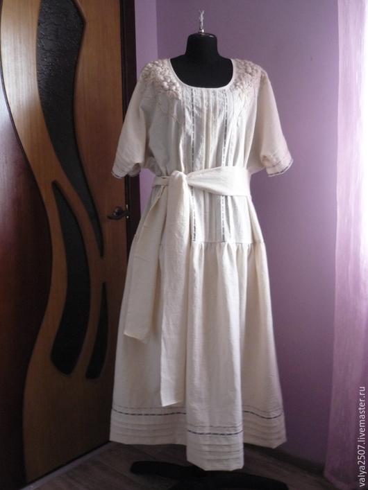 """Большие размеры ручной работы. Ярмарка Мастеров - ручная работа. Купить Платье с вышивкой """"Зефир 01"""". Handmade. Бежевый, платье"""