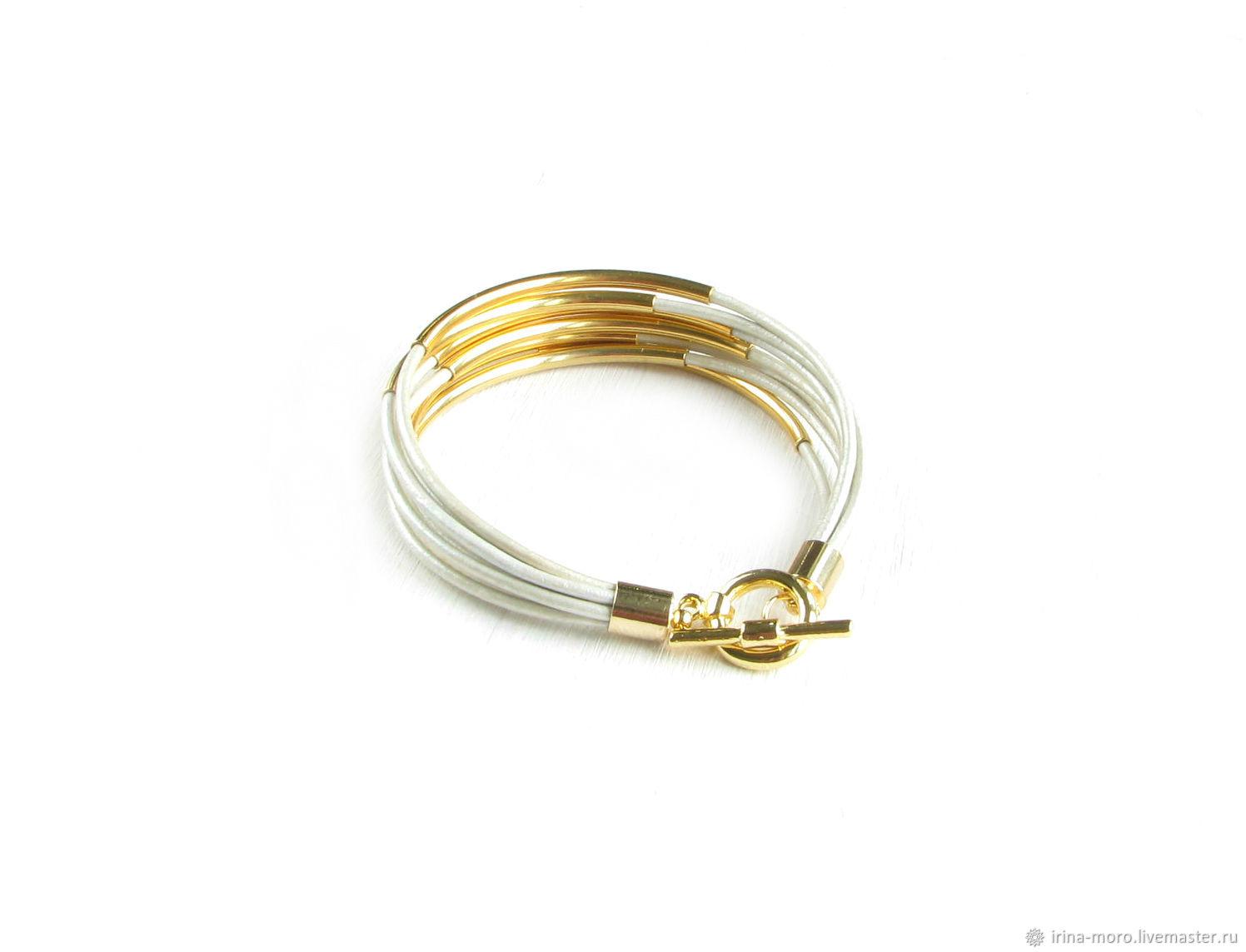 White leather bracelet 'Radiance' bracelet gift March 8, Braided bracelet, Moscow,  Фото №1